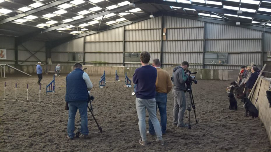Russian TV crew filming with Cantref Gwaelod